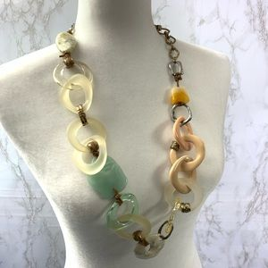 Chico's long chunky statement necklace mixed media